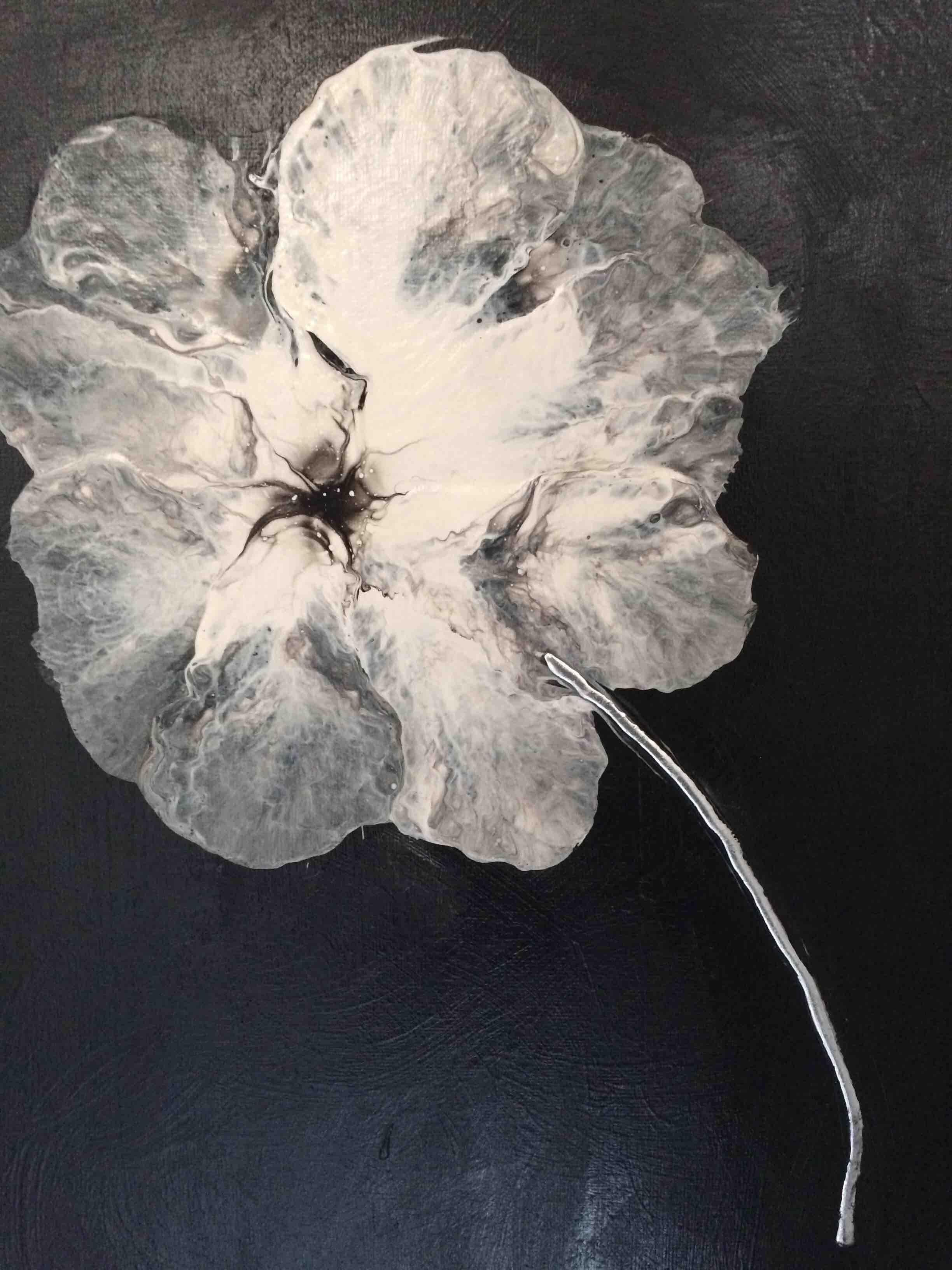 Tableau Fleurs Noires & Blanches - nathaliedeffrene